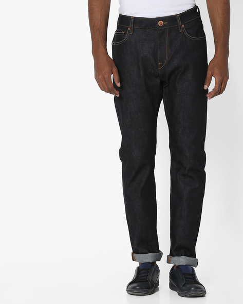Mid-Rise Slim Straight Jeans By UNITED COLORS OF BENETTON ( Black )