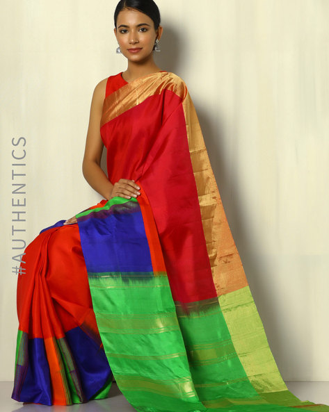 Handloom Arani Half-and-Half Pure Silk Saree By Pretty Woman ( Multi ) - 460091971001