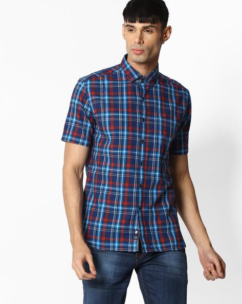 Checked Shirt With Patch Pocket By NETPLAY ( Blue )