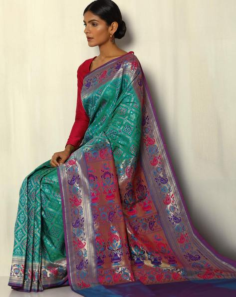 Patola-Style Brocade South Silk Saree By Pretty Woman ( Green ) - 460092274001