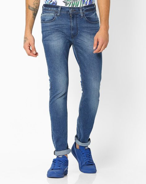 Washed Mid-Rise Skinny Jeans By LEVIS ( Blue )