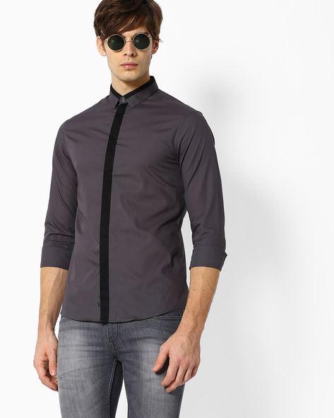 Slim Fit Shirt With Contrast Placket By Celio ( Lightgrey )