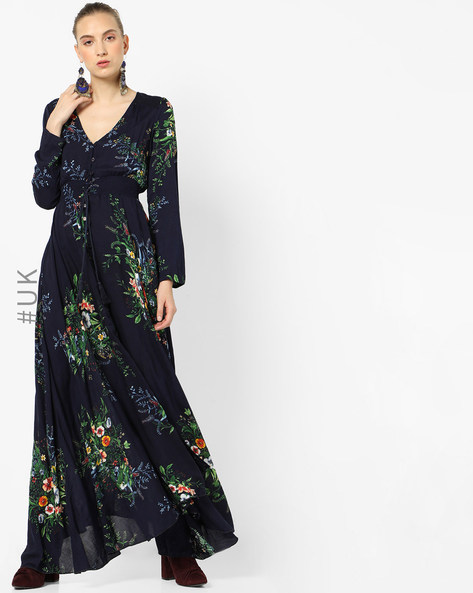 Floral Print Maxi Dress With Asymmetric Hem By OEUVRE ( Navy )