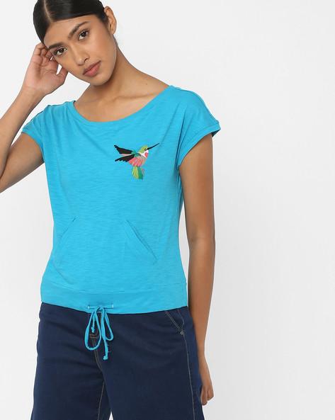 Slub Knit Top With Tie-Up By RI-DRESS ( Blue )