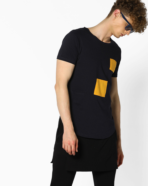 Layered Longline T-shirt With Pocket By KULTPRIT ( Darkblue )
