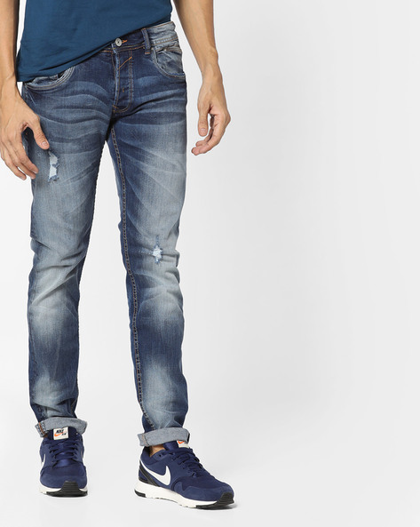 Acid Washed Distressed Denims By ALCOTT ( Navyblue )