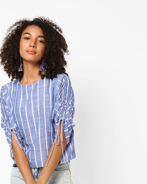Striped Boxy Top With Gathered Sleeves By Only ( Blue )