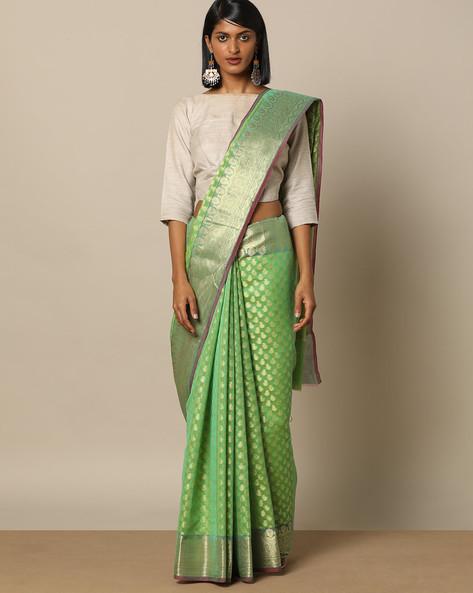Banarasi Silk Saree With Zari Border By Rudrakaashe-MSU ( Green )