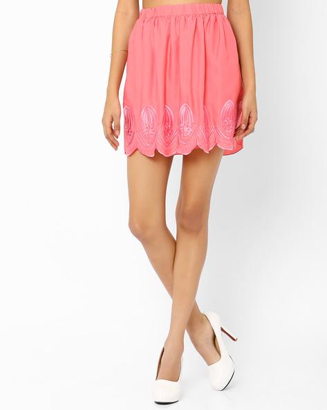 Mini Skirt With Scalloped Hem By AJIO ( Pink )