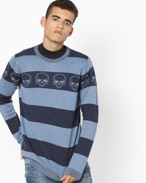Striped Crew-Neck Sweater By Jack & Jones ( Blue )