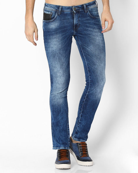 Lightly Washed Slim Fit Jeans By WRANGLER ( Brown )