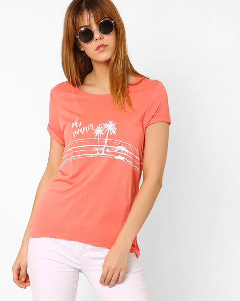 Printed Top With Short Sleeves By Vero Moda ( Rose )