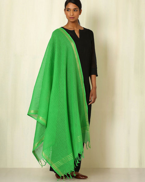 South Cotton Woven Dupatta By Indie Picks ( Green )