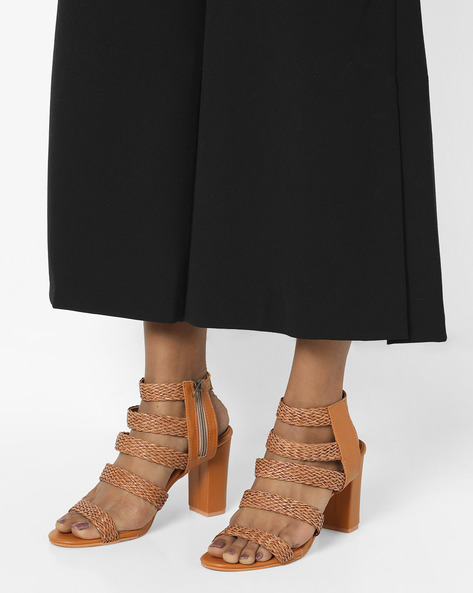 Ankle-Strap Heels With Braided Design By MFT Couture ( Tan )