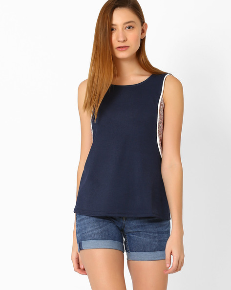 Sleeveless Top With Printed Panels By Vero Moda ( Blue )