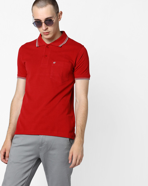 Polo T-shirt With Patch Pocket By Fort Collins ( Maroon )