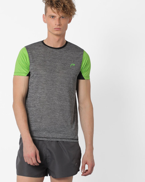 Comfort Fit T-shirt With Printed Sleeves By PROLINE ( Charcoal )