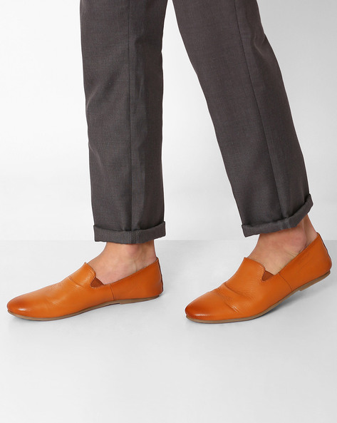 Genuine Leather Slip-Ons By VALENTINO ( Tan )