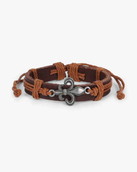 Tie-Up Bracelet With Metal Accents By ALPHA MAN ( Tan )