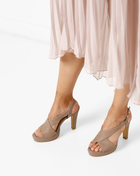 Peep-Toe Platforms With Ankle Strap By AJIO ( Tan )