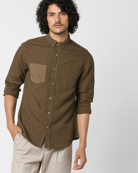 Slim Fit Shirt With Button-Down Collar By AJIO ( Olive )