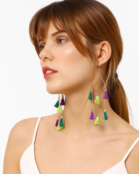 Statement Drop-Earrings With Tassels By BLUEBERRY ( Green )