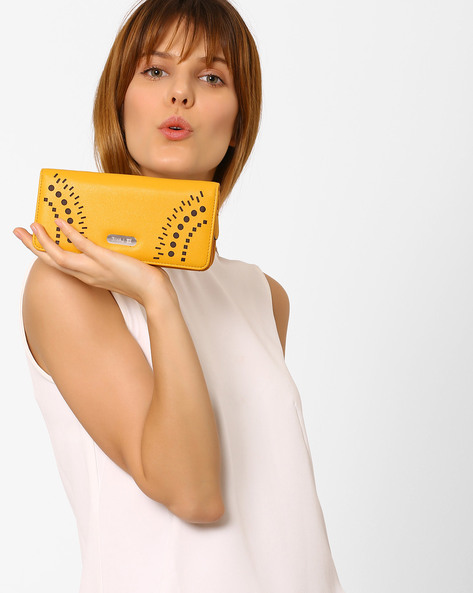 Bi-Fold Wallet With Cutout Detail By Lavie ( Yellow )