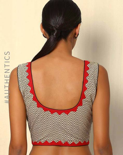 Handblock Print Cotton Blouse With Hand Embroidery By Indie Picks ( Multi )