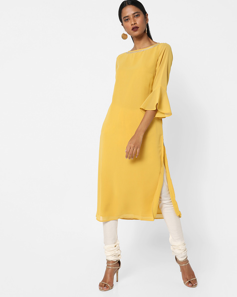 Embroidered Straight Kurta With Bell Sleeves By AJIO ( Yellow )