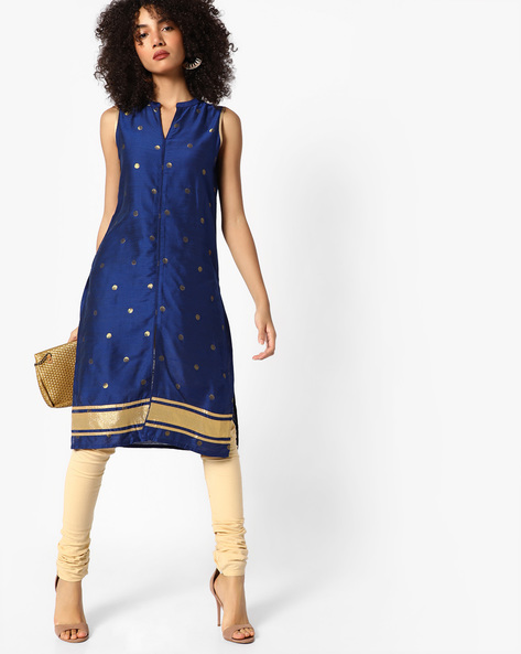 Sleeveless Kurta With Mandarin Collar By Melange By Lifestyle ( Blue )