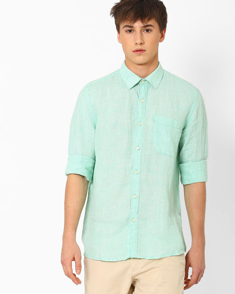 Linen Shirt With Patch Pocket By NETWORK ( Green )