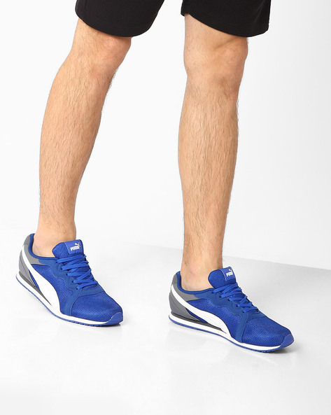 Pacer Lace-Up Sneakers By Puma ( Blue )