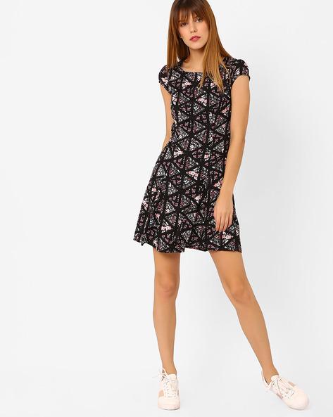 Floral Print Skater Dress By Honey By Pantaloons ( Black )