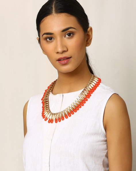 Bead Studded Necklace By Indie Picks ( Orange )