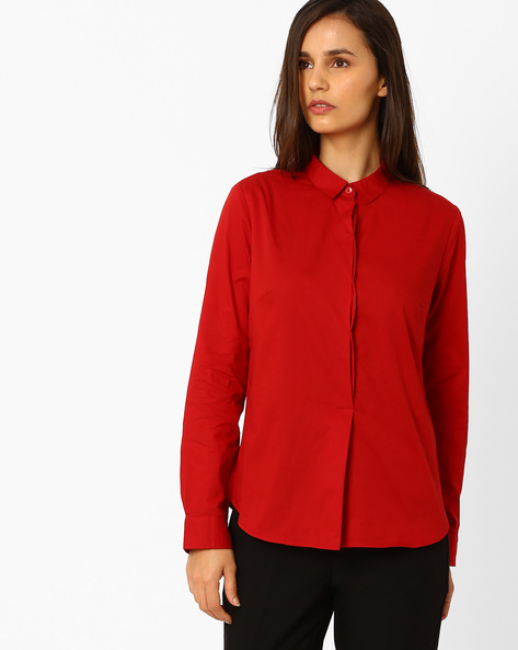 Shirt With Concealed Button Placket By Wills Lifestyle ( Red )