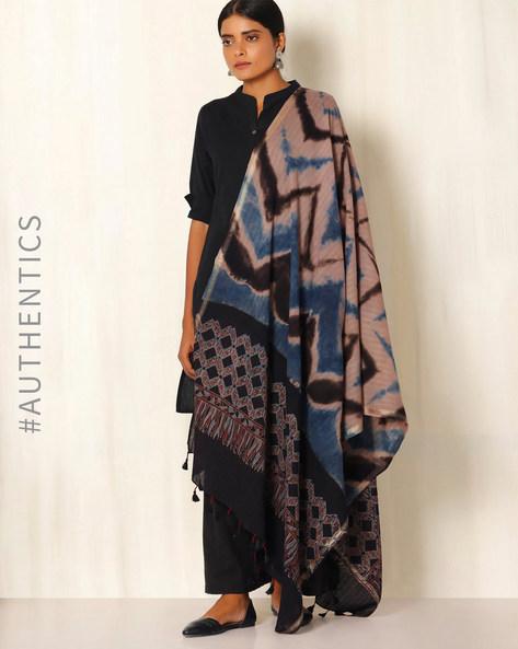 Ajrak Handblock Print Shibori Cotton Dupatta By Indie Picks ( Indigo )