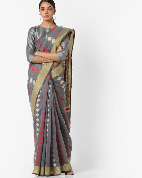 Banarasi Woven Saree With Contrast Border By Parmita ( Grey )