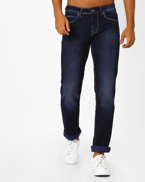 Slim Fit Lightly Washed Jeans By Killer ( Blue )