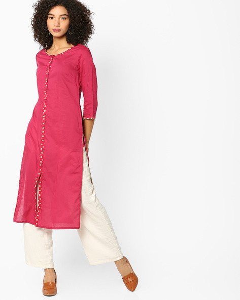 Straight Kurta With Contrast Button Placket By AJIO ( Maroon )