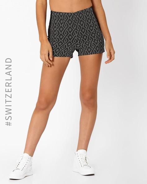 High-Waist Jacquard Shorts By TALLY WEiJL ( Black )