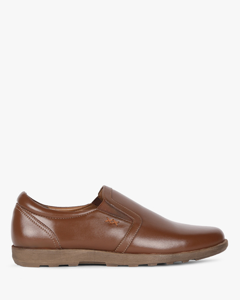 Genuine Leather Slip-On Formal Shoes By Buckle Up ( Tan )