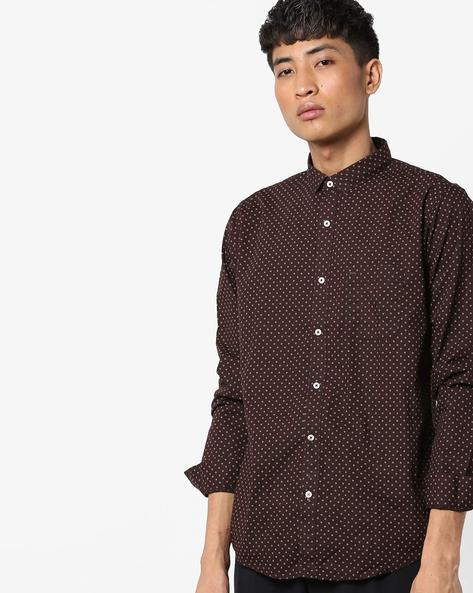 Slim Fit Printed Cotton Shirt By BASICS ( Brown )