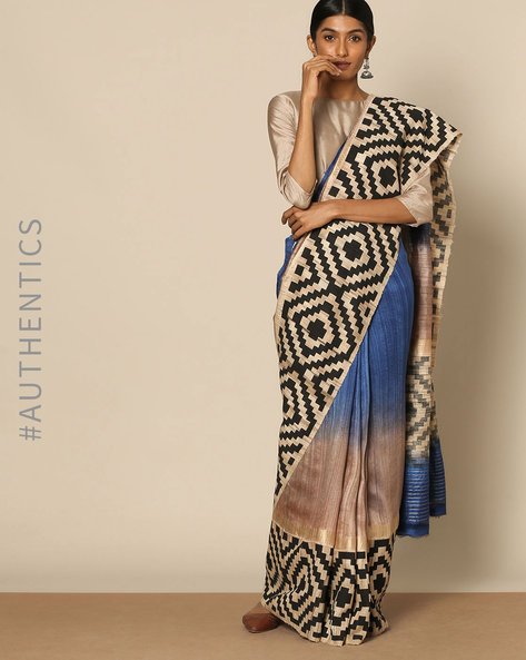 Printed Pure Silk Designer Saree By Rudrakaashe-MSU ( Blue )