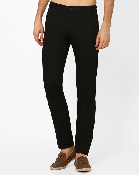 Flat-Front Slim Fit Trousers By BASICS ( Black )