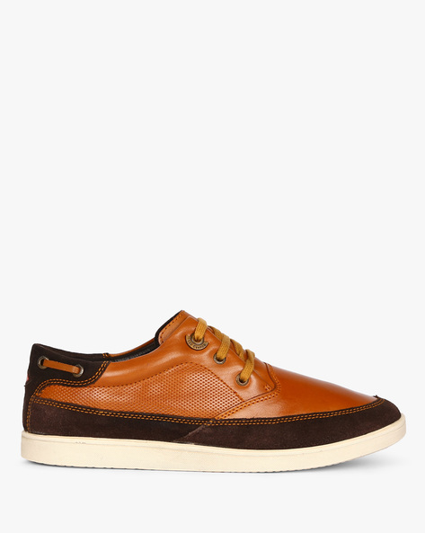 Panelled Genuine Leather Lace-Up Casual Shoes By Lee Cooper ( Tan )