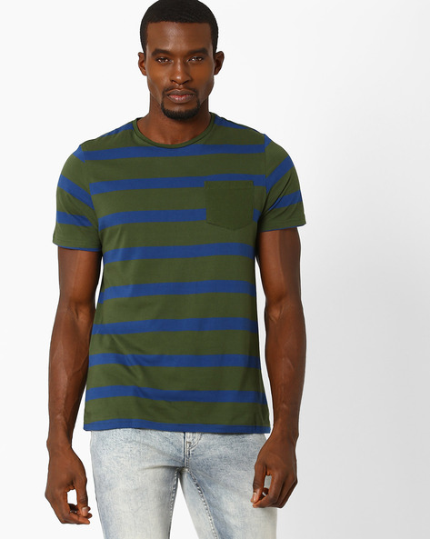 Striped T-shirt With Patch Pocket By AJIO ( Green )