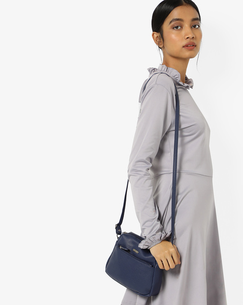 Sara Textured Sling Bag By Lavie ( Navy )