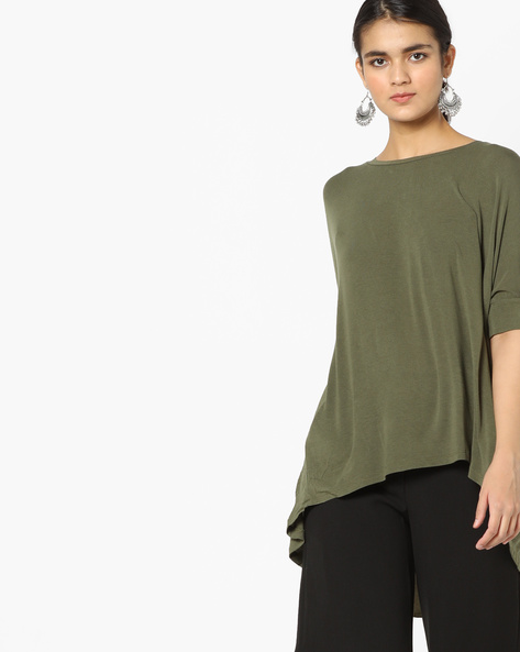 Boxy Top With High-Low Hem By Project Eve WW Casual ( Olive )
