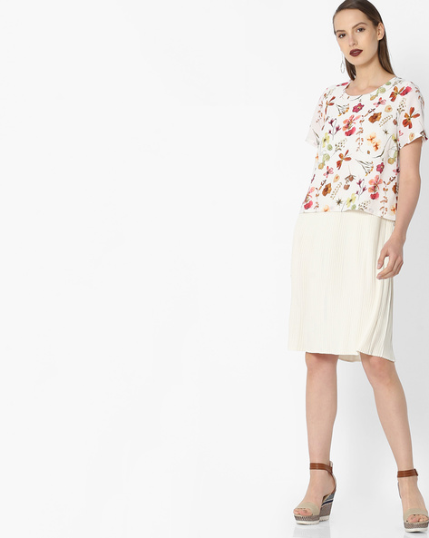 Floral Print Popover Dress By Project Eve WW Casual ( Offwhite )