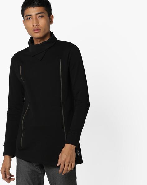 Cowl Neck Slim Fit Sweatshirt By KULTPRIT ( Black )